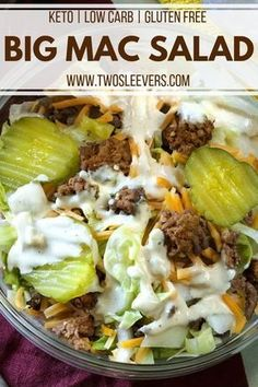 Keto Big Mac Salad Low Carb Hamburger Salad Big Mac Salad yummy Everyone loved it Definitely making the sauce for burgers Kids even loved it Didn t change anything-April Low Carb Fast Food, Low Carb Diets, Low Carb Lunch, Low Fat Meals, Low Sugar Dinners, Keto Fast Food Options, Low Fat Low Carb, Cetogenic Diet, Diet Food List
