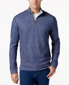 Tommy Bahama Men's Quarter-Zip Houndstooth Shirt - Blue