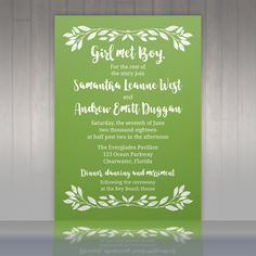 10 Green Leaf Wedding Invitations with RSVP by LittleBeesGraphics