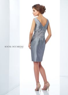 Social Occasions By Mon Cheri 118872 - The epitome of elegance, this sleeveless shantung and metallic lace knee-length sheath features a bateau neckline, a metallic lace accented natural waist, a V-back, and a center back slit for ease of movement. A matching shawl is included.
