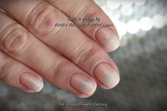 Gelish Neutral and White Glitter Ombre nails by www.funkyfingersfactory.com