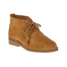 Women's Hush Puppies Cyra Catelyn Chukka featuring polyvore, women's fashion, shoes, boots, ankle booties, ankle boots, brown, suede ankle boots, lace-up bootie, chukka boots and lace up platform bootie
