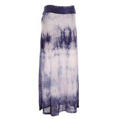 Tie-dye maxi skirt in a soft sweater knit is a stylish addition to your wardrobe. A versatile look that easily dresses up or down depending on your mood. Shorter liner underneath leaves a slightly sheer look from the knees down. Pull-on elastic waist.