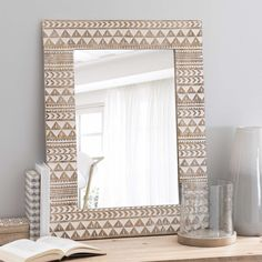Spiegel aus Holz H 66 cm SONGO