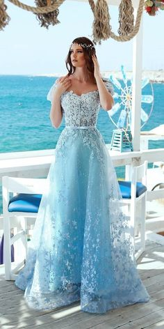 21 Adorable Blue Wedding Dresses For Romantic Celebration - top.suzysfashion 21 Adorable Blue Wedding Dresses For Romantic Celebration Blue Wedding Gowns, White Bridal Dresses, Best Wedding Guest Dresses, Princess Wedding Dresses, Floral Wedding, Wedding Bride, Gown Wedding, Blue Weddings, Lace Wedding