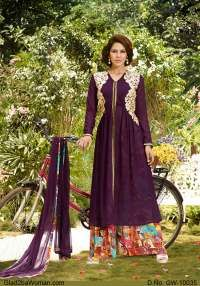 Elegant Purple Semi Stiched Suit