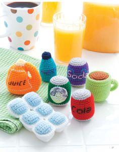Вязаные крючком продукты: напитки и лёд