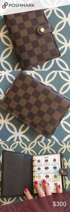 Authentic Louis Vuitton Damier Ebene Agenda Authentic Louis Vuitton damier ebene agenda. Vintage agenda comes complete with custom made calendars for 2016 & 2017, things to do pages, miniature notepad paper, credit card pouch and miniature pen. The agenda has slots for 3 credit cards and a back slot. Snap front closure. I will ship within 24 hrs. Excellent condition! No trades please! If you have questions, please comment below 👇🏻 or make me offer. Date code is CA1010 Louis Vuitton…