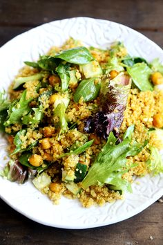 Quinoa Salad with Leafy Greens, Cucumber and Curried Chickpeas