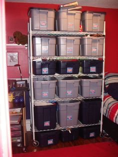 We have an old house with serious storage issues so this was my son's Red Sox room storage area--all labeled!
