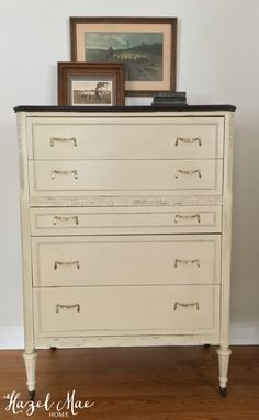 Vintage Dresser redesigned with Annie Sloan Country Grey and General Finishes Java Gel Stain {by Hazel Mae Home}