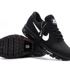new styles 0b130 53e3d Comfortable Nike Air Max 2017 Men Black White Logo Running Shoes Hot Sale -   65.95