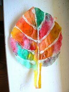 coffee filter and hot glue leaf art.
