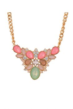 Love Pink + Green! Pink and Mint Green Water Drop Vintage Bib Style Gemstone Gold Necklace