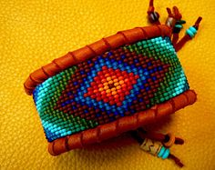 native american beadwork on Etsy, a global handmade and vintage marketplace. Seed Bead Patterns, Beaded Bracelet Patterns, Beading Patterns, Native Beadwork, Native American Beadwork, Loom Crochet, Seed Bead Projects, How To Make Beads, Beads Making