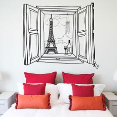 Paris Window Wall Sticker, £37, now featured on Fab.