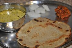 Hello friends, This is how a typical Rajasthani Village Thali looks. It has bajre ki roti, methi ki kadhi (i will post the recipe soon),. Gourmet Recipes, Bread Recipes, Healthy Recipes, Gourmet Foods, Healthy Food, Indian Veg Recipes, Ethnic Recipes, Rajasthani Food, Rajasthani Recipes