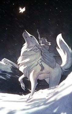 """A speed drawing for the """"Daily Spitpaint"""" group of my OC Taylor, and a trusty animal companion. I took some extra time to tweak the values afterward ^^ . Butterfly in the Stars Anime Wolf, Pet Anime, Animal Drawings, Art Drawings, Fantasy Creatures, Mythical Creatures Art, Furry Art, Art Sketches, Amazing Art"""