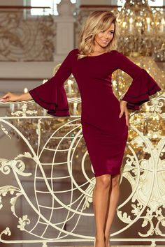Bodycon dress with flamenco sleeves and contrasting piping accentuates the flared cuffs, a dress in a classic silhouette. A real feminine dress, perfect for a special occasion. Bodycon Fashion, Women's Fashion Dresses, Sexy Dresses, Figure Flattering Dresses, Robes Midi, Burgundy Dress, Burgundy Color, Midi Dress With Sleeves, Feminine Dress