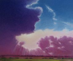 """Angelrah"" by Jerry Moon Fine Art-Oil-Landscape-Painting-Kansas City, Missouri-Midwest-Clouds-Sunny-Trees-Blue-Violet-Green-Dramatic"