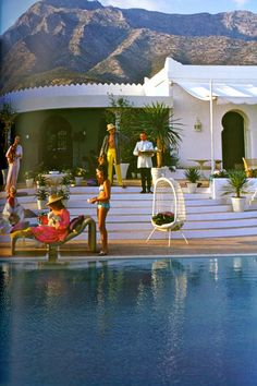 """Attractive People Doing Attractive Things in Attractive Places"" Slim Aarons  El Venero, the villa of Hector and Chico de Ayala, Marbella, Spain, 1967"