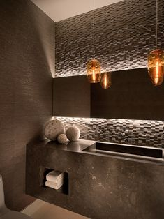 Bathroom Lighting- Backlight mirrors above vanity to provide accent lighting and add a special tough! #led #ledlighting