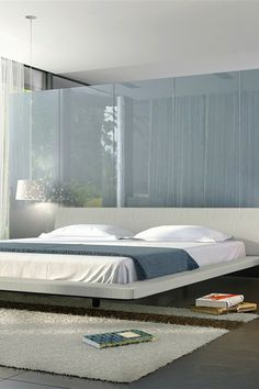 "Jane Dove Gray Bed by modloft $1,099.00 - Queen: 72"" W x 95"" D x 29"" H"