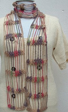 This lovely charming écharpe was made in crochet with cotton thread. An écharpe is a quite long scarf. The ends are – BuzzTMZ Crochet Shawl Diagram, Crochet Poncho, Crochet Scarves, Crochet Clothes, Crochet Lace, Crochet Stitches, Crochet Patterns, Crocheted Scarf, Crochet Butterfly