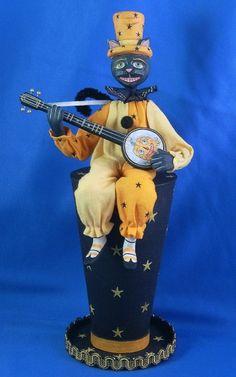 Alan Cunningham's wonderfully whimsical, banjo playing cat. Whimsical Halloween, Halloween Carnival, Halloween Doll, Holidays Halloween, Vintage Halloween, Grim Reaper, Banjo, Samhain, Hallows Eve