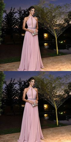Halter Long Prom Dress, Formal Beaded Evening Dress,Custom Made Evening Dress, Pink A-line Prom Dresses A Line Prom Dresses, Grad Dresses, Homecoming Dresses, Evening Dresses, Bridesmaid Dresses, Dress Prom, Simple Prom Dress, Pink Dress, Vintage Dresses