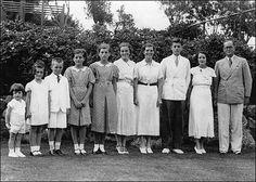"Joseph P. Kennedy, Sr. family: Edward ""Ted"", Jean, Robert ""Bobby"", Patricia, Eunice, Kathleen, Rosemary, John, Rose and Joe Sr. Oldest son Joe Jr. is missing from the photo."