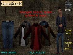 (WEAR ME) Wrangler Denim Jacket w/Shirt & Jeans secondlife, sl, avatar secondlife fashion lifestyle