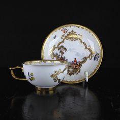 Antique Meissen german porcelain cup and saucer set, Harbour & river scenes, Circa 1740 Antique Tea Cups, Vintage Cups, Vintage Tea, Tea Cup Set, Cup And Saucer Set, Tea Cup Saucer, Tea Sets, Cup And Saucer Crafts, Tea Culture