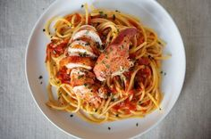 If it's done right, Lobster Diavolo sings with the fresh, juicy tang of summer tomatoes and thrums with the gentle heat of chilis. When tossed with al dente pasta, the sauce provide a kicky backdrop that complements rather than overwhelms the sweet suppleness of the lobster itself. I like to keep the lobster in large pieces so it looks pretty on the plate, and I've always loved Esca's addition of fresh mint, so I adopted it myself.