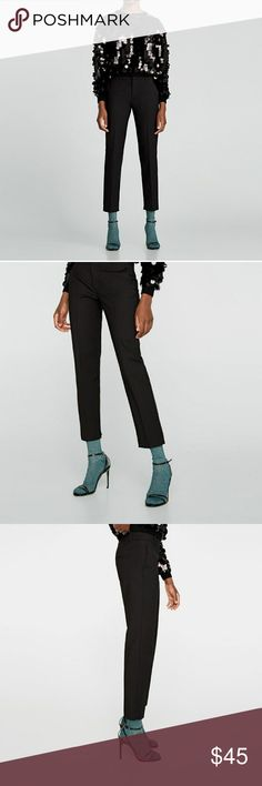 NEW W/TAGS! Zara Straight Cut Trousers NEW WITH TAGS! SOLD OUT IN STORES & ONLINE! Trousers with side pockets and piped back pockets. 51% cotton, 46% polyester, 3% elastane. Color: black. Size: large. #7290/071. Zara Pants Ankle & Cropped