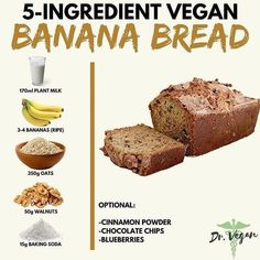310 Likes, 2 Comments - Vegan Recipes Delicious Vegan Recipes, Healthy Dessert Recipes, Healthy Desserts, Simple Recipes, Vegan Treats, Vegan Foods, Courge Spaghetti, Vegan Banana Bread, Bread Ingredients