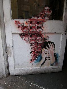 turecepcja: Graffiti (Jana JS), off Brick Lane, London, England. Street Art London, London Instagram, Brick Lane, City Streets, Photo And Video, Painting, White Doors, Wall Street, London England