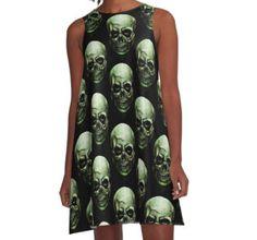 A-Line Dress #evil #eyes #gothic #horror #demon #monster #rockabilly #terror #creepy #skeleton