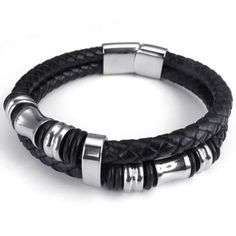 """KONOV Jewelry Leather Mens Bracelet Stainless Steel Charms Clasp, Black Silver - 8"""", 8.5"""", 9"""" - Listing price: $59.99 Now: $11.99"""