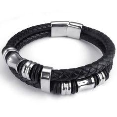 "8"", KONOV Jewelry Leather Mens Bracelet Stainless Steel Charms Clasp, Black Silver - 8 inch KONOV Jewelry http://www.amazon.com/dp/B00EIERQXS/ref=cm_sw_r_pi_dp_LSEawb0QTB89H"