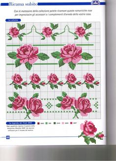 Schema punto croce Rose Rosa