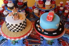 Lighting mcqueen and mater cakes