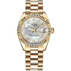 Rolex Datejust 31mm Yellow Gold 178278 MOP Roman President Watch ($24,050) ❤ liked on Polyvore featuring jewelry, watches, roman numeral watches, white watches, gold watches, gold crown and white jewelry