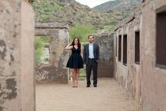 Phoenix Desert Scorpion Gulch South Mountain Engagement Photos Erin Evangeline Photography, Rent The Runway, Navy Blue Dress, What To Wear for Engagement Photos, Kendra Scott Jewelry