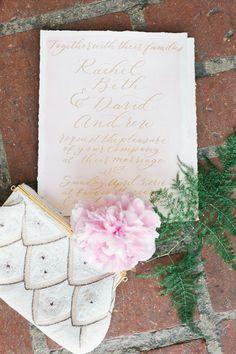 gold wedding invitat