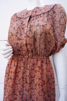 Robe Dress Vintage 70 VINTAGE Seventies 38 40  hIPPIE bOhême PREPPY