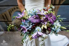 Blue and Purple Bridal Bouquet with Rich Textures and Succulents/wild stems