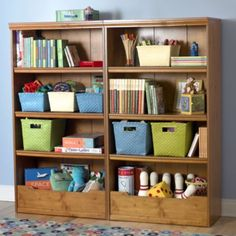 Light Honey Flat Top Bookcase, 60""
