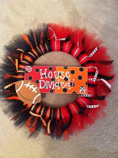 We need a Husky/Cougar one of these for football season. House Divided Tulle Wreath. $30.00, via Etsy.