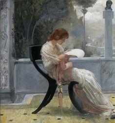 Catullus and Clodia or Reading, detail. Giulio Aristide Sartorio (Italian, 1860-1932)